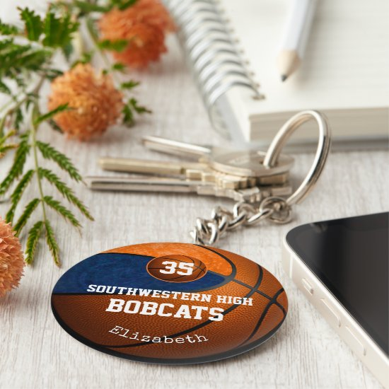 blue orange school colors girls' basketball team keychain