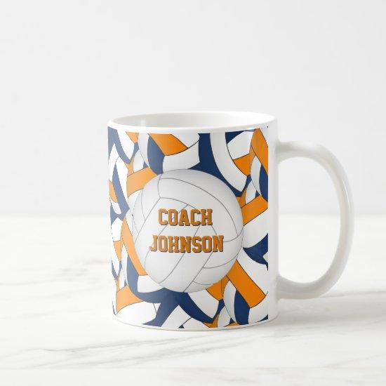 blue orange school colors volleyball coach gift coffee mug