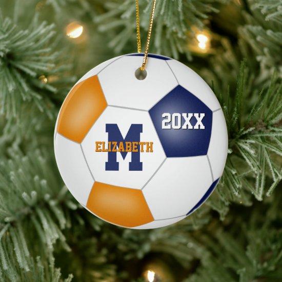 blue orange school sports team colors soccer ceramic ornament