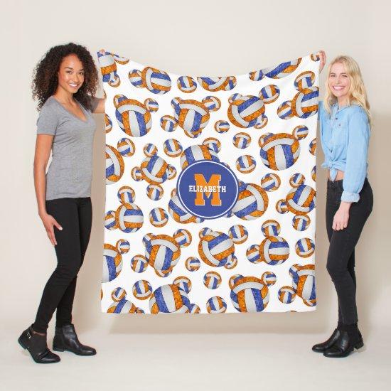 blue orange school team colors girly volleyball fleece blanket