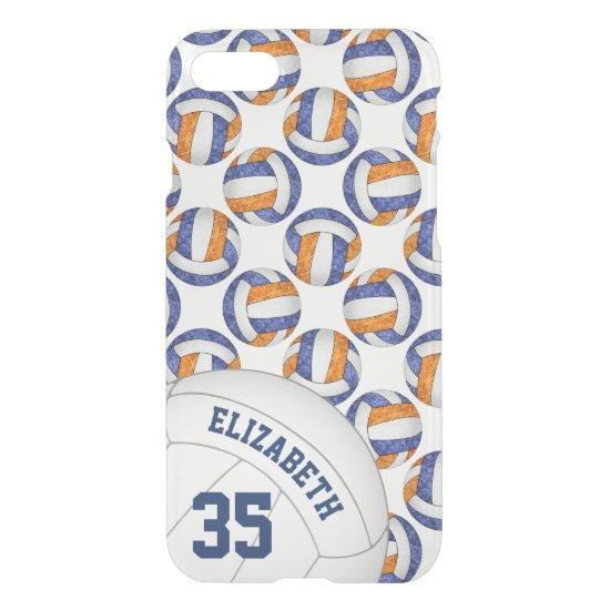 blue orange school team spirit girls' volleyball iPhone 8/7 case