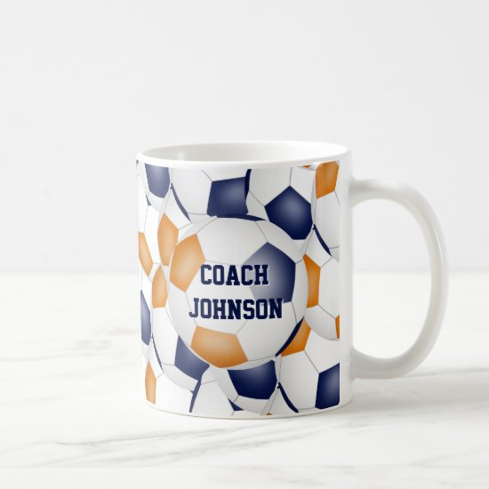 blue orange soccer school team coach gift coffee mug