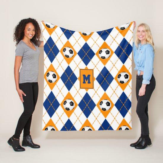 blue orange soccer team colors argyle pattern fleece blanket