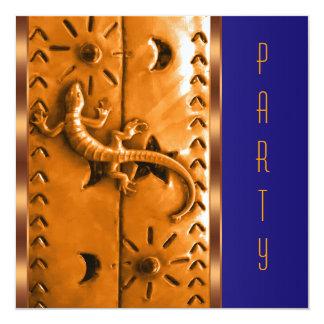 Blue Orange Southwestern Lizard Birthday Party 5.25x5.25 Square Paper Invitation Card