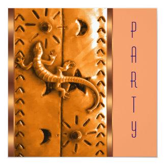 Blue Orange Southwestern Lizard Birthday Party Announcements