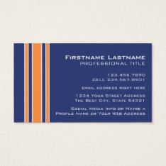 Blue Orange Sports Jersey with Name and Number Business Card at Zazzle