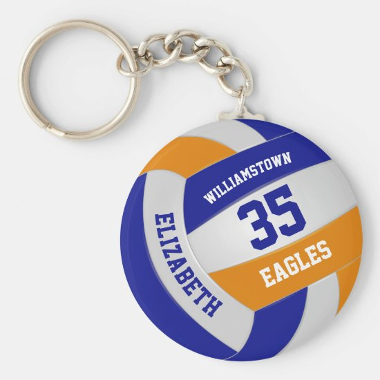 blue orange sports team colors girls volleyball keychain