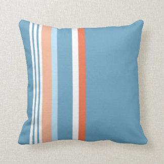 Blue (Orange stripe) Throw Pillow