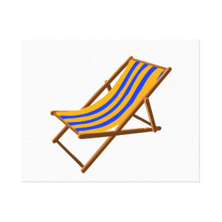 blue orange striped wooden beach chair.png stretched canvas print