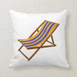 blue orange striped wooden beach chair.png throw pillows