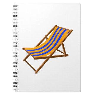 blue orange striped wooden beach chair.png spiral notebook