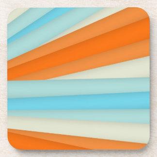 Blue Orange Stripes Coaster