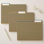 [ Thumbnail: Blue & Orange Stripes/Lines Pattern File Folders ]
