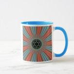 Blue Orange Sunburst Fractal Mug