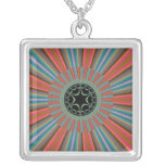 Blue Orange Sunburst Fractal Square Pendant Necklace