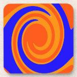 Blue Orange Swirl Drink Coasters
