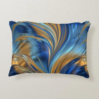 Blue orange swirls accent pillow