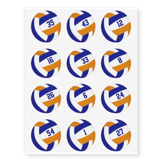 blue orange team color volleyballs w jersey number temporary tattoos