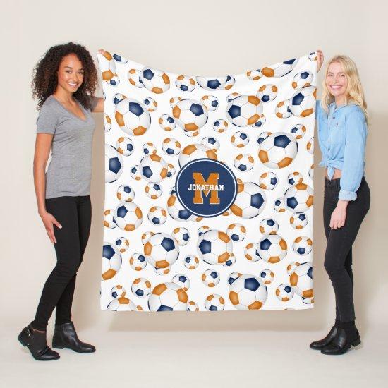 blue orange team colors boys girls sporty soccer fleece blanket