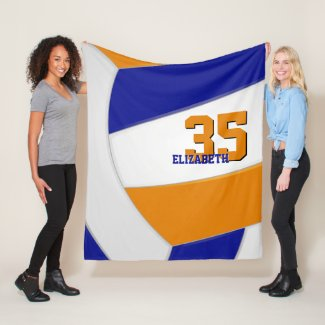 blue orange team colors ginormous volleyball fleece blanket