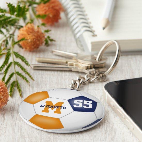 blue orange team colors girls boys soccer ball keychain