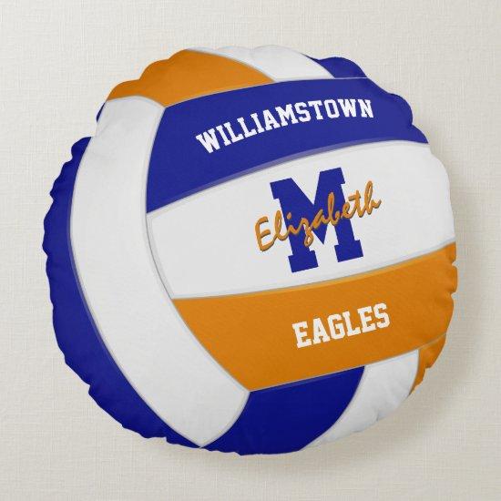 blue orange team colors girls volleyball round pillow
