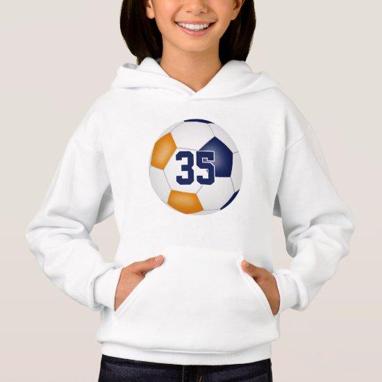 blue orange team colors jersey number soccer hoodie