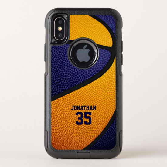 blue orange team colors personalized basketball OtterBox commuter iPhone XS case