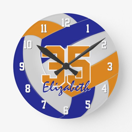 blue orange team colors players name volleyball round clock