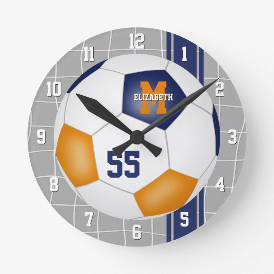 blue orange team colors varsity stripes soccer round clock