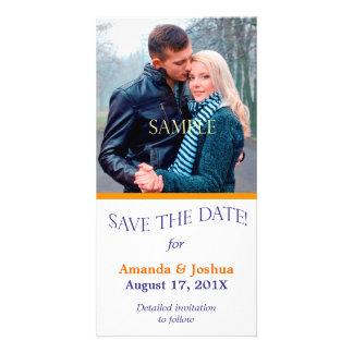 Blue Orange Template Save the Date Wedding Photo Card