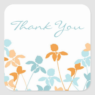 Blue Orange Thank You Wedding Envelope Seals