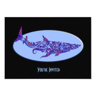 Blue & Orange Tribal Tattoo Shark on Lt Blue Oval. Card