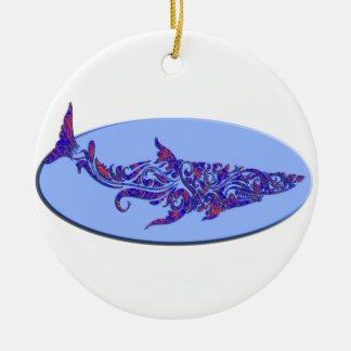 Blue & Orange Tribal Tattoo Shark on Lt Blue Oval. Christmas Tree Ornament