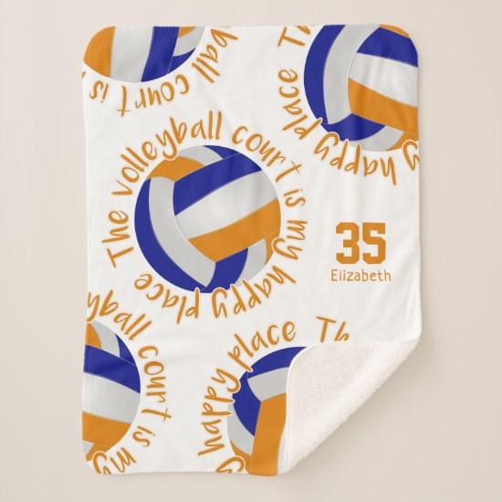 blue orange volleyball court happy place sherpa blanket