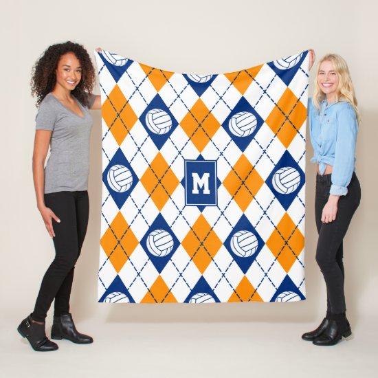 blue orange volleyball team colors argyle pattern fleece blanket