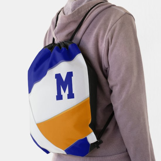 blue orange volleyball team colors boys girls drawstring bag