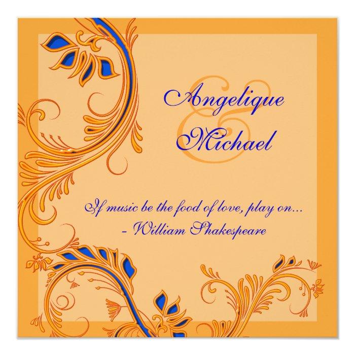 Blue orange wedding anniversary engagement card zazzle