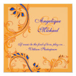 Blue orange wedding anniversary engagement 5.25x5.25 square paper invitation card