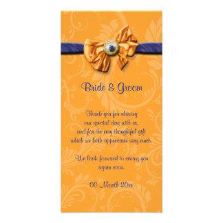 """Blue orange wedding """"thank you"""" #2 card"""
