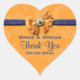 "Blue orange wedding ""thank you"" theme heart sticker"