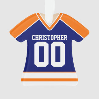 Blue/Orange/White Custom Hockey Jersey Ornament