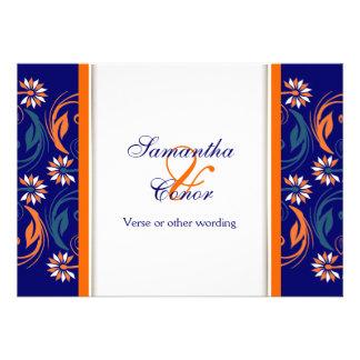 Blue orange white wedding anniversary custom invite