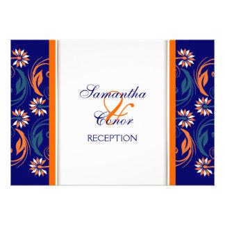 Blue orange white wedding anniversary custom announcements