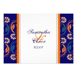 Blue orange white wedding anniversary invitations