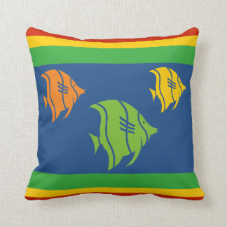 blue, orange, yellow, and Green fish on white Throw Pillow