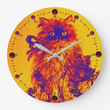 Professional Business BLUE ORANGE YELLOW KITTY CAT,KITTEN AND ROSES LARGE CLOCK