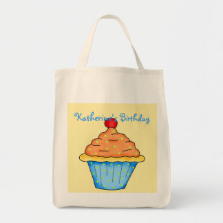 Blue, Orange & Yellow Personalized Cupcake Tote Bag
