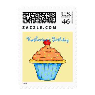 Blue, Orange & Yellow Personalized Cupcake Postage Stamp