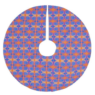 Blue Orange Yellow Swirl Pattern Brushed Polyester Tree Skirt